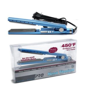 Wholesale PRO F Plate Titanium Hair Straightener Straightening Irons Flat Iron Hair Curler US EU UK AU Plugs