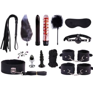 14 pcs a lot of sex toys for women man Handcuffs Anal plug tail Whip ass Crystal vibrator sex slave plays bdsm bondage shop
