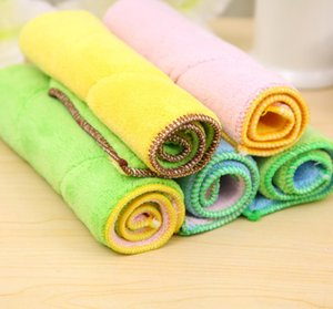 Wholesale Double sided Color Rag Superfine Fiber Cleaning Cloth Absorbent Dishcloths Super Soft Hand Towels Kitchen Tools Towel p l
