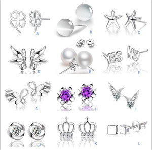 Wholesale opal earings for sale - Group buy S925 Silver Plated Crystal Opal Pearl stud earrings Crown wing Letters earings Fashion brand jewellery for women