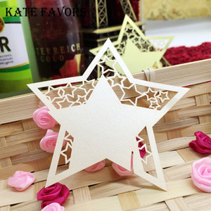 Wholesale 50pcs Laser Cut Star Shape Paper Cards Birthday Party Decoration DIY Place Card Cups Glass Wine Wedding Name Cards