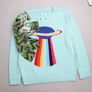 Wholesale Fashion Shipping Light Blue Long Sleeves Women s Sweaters Bow Sequins Pullovers Women blusas de inverno feminina DH081