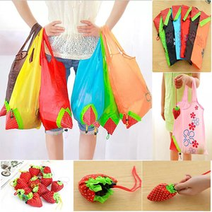 Wholesale Cute Strawberry Shopping Bags Foldable Tote Eco Reusable Storage Grocery Bag Tote Bag Reusable Eco Friendly Shopping Bags WD950922