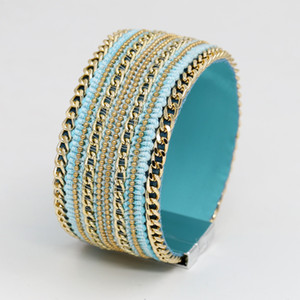 Wholesale Women s magnetic buckle bracelet Leather vintage bracelet A variety of chain inlaid wide bracelets Cotton rope