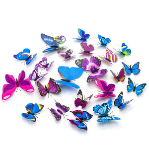 Wholesale 12Pcs D Butterfly Wall Sticker PVC Removable DIY Art Decor Crafts Magnets and Glue Sticker for Nursery Classroom Offices Decor