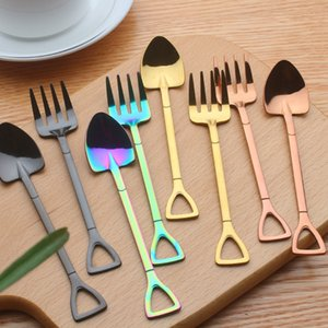 Shovel Shape Cake Spoon Stainless Steel Mini Fruit Fork For Tea Coffee Sugar Ice Cream Cafe Bar Tableware Tools RRA1861 on Sale