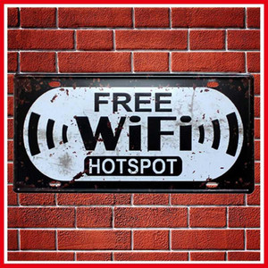 Wholesale Hot Free WiFi Hotspot Metal Car Plate Vintage Home Decor Tin Sign Bar Pub Hotel Decorative Metal Sign Art Painting Plaque