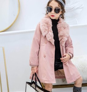 Wholesale J315 Fashion Leisure Western style Korean version Lapel Girl Long Coat Winter Add Thicken KIds Clothes Size100