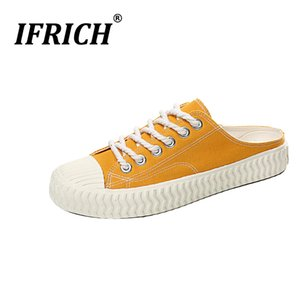 Wholesale Ifrich Summer Men Casual Canvas Shoes Yellow Blue Men Half slippers Vulcanized Canvas Fashion Shoes Half Drag Young