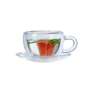 New Double Transparent Coffee Mugs With the HandCreative Glass Coffee Tea Drinks Dessert Breakfast Milk Cup Glass Mugs With Handle and Reel