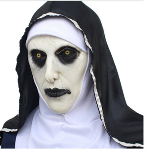 Wholesale The Nun Valak Mask Deluxe Latex Scary Full Head Halloween Cosplay Costume Accessory Halloween Party Masks RRA2140