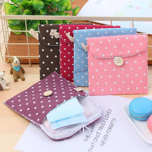 Wholesale Sanitary Towel Napkin Pad tampon Holder Case Bag Organizer pouch Cute Wave Point Beauty Wash Organizer Cosmetic Bag