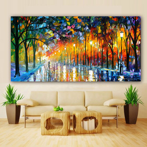Wholesale raining paintings resale online - Canvas Painting Landscape Poster Walling In Rain Light Road Oil Painting Wall Art Wall Pictures for Living Room Home Decoration