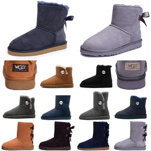 Wholesale Wgg Classic Ankle Boots Luxury Designer Women Boots Black Chestnut Grey Navy blue Red Sand With Bows Leather Australian Snow Winter Boots