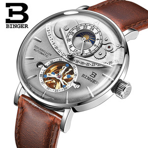 механические часы оптовых-Genuine BINGER Men watch steel leather strap automatic mechanical male moon phase waterproof cruve surface big dial