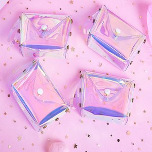 Wholesale 7 cm eTya Transparent Coin Purse Women Small Wallet Female Change Purses Mini Children s Pocket Wallets Key Card Holder PVC Hand bags Y