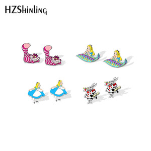 New Alice in Wonderland Acrylic Earring Funny Rabbit Stud Earring Cheshire Cat Fairy Tale Resin Earrings Silver