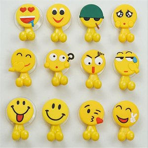 Cute funny emoticons Cartoon suction cup toothbrush holder hooks bathroom set accessories on Sale