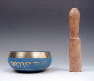 Wholesale bowl gong resale online - Brass Gold Gilt Unique Chakra Singing Bowl Meditation Gongs BLUE hand hammered Mallet Antique Garden Decoration Silver Brass