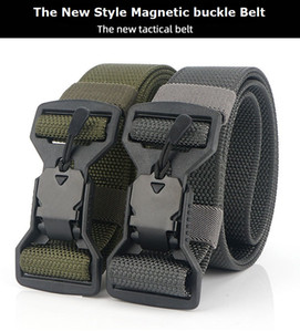 Wholesale New Style Casual Men's Polyester Nylon Magnetic Buckle Light Joker Leisure Tactical Belt Jean Pants Sport Belt Waist Band