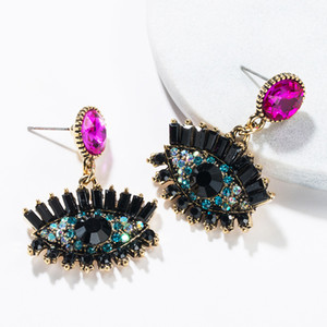 Wholesale Color Rhinestone Big Eye Drop Earrings New Europe Fashion Vintage Statement Dangle Earring For Women Girl Party Jewelry