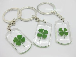 Wholesale gifts for mom wedding Good Luck Real Four Leaf Clover Key Ring Keychain Gift NEW specimen