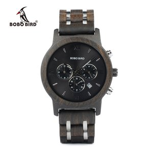 Bobo Bird P19 Wooden Mens Quartz Watches Date Display Business Watch Ebony & Zebrawood Options Valentines Gift Y19051403
