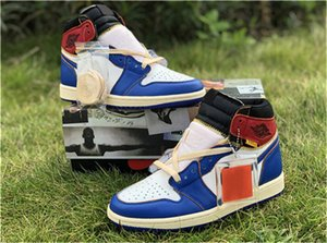 Wholesale 2019 Newest Authentic Union x High OG NRG LA Los Angeles Blue Toe Varsity Red Storm S Basketball Shoes Man Sneakers With Box