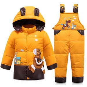 Wholesale Children's Winter Down Jackets For Girls Boys Snowsuit Overalls Kids Autumn Warm Jackets Toddler Outerwear Baby Coat Pant Suits