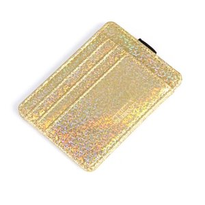 Wholesale Glitter Card Purse Front Pocket Elastic Band Mini Purse Card Organizer for girls PU Leather Purse New
