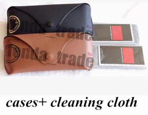 Wholesale leather cleaners for sale - Group buy Black Brown New Leather Case Black Brown with cleaning Cloth Factory Price HoT sale Top quality