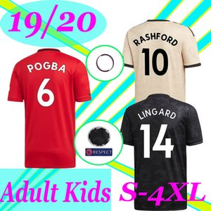 NEW S-4XL 19 20 manchester POGBA soccer jersey Fans Player version united 2019 2020 LINGARD RASHFORD football shirt UtD uniforms man kids