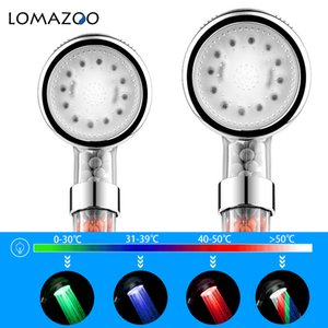 Wholesale LOMAZOO LED Anion Shower SPA Shower Head Pressurized Water SavingTemperature Control Colorful LED Filter Rain Shower