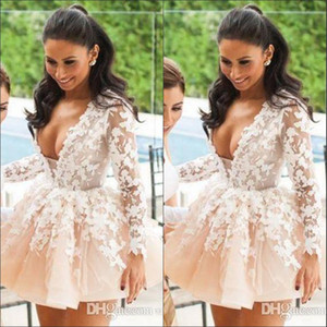 Wholesale Hot Sale V Neck Short Mini Homecoming Dresses Long Sleeve Lace Applique Prom Dress Formal Party Evening Gowns Robe De Soiree