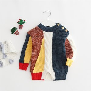 Wholesale Newest INS Baby Boys Patchwork Sweaters Pullover Spring Autumn Children Outwears Newborn Shoulder Buttons Sweaters Shirts Pullover Outfits