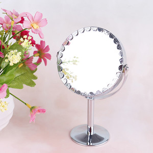 Wholesale Circular Makeup Mirror Dual Sided Round Shape LEDs Rotating Cosmetic Mirror Stand Magnifier