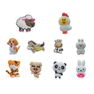 100pcs Cute Animals PVC Shoe Charms Dog Panada Rabbit Cow Buckles Fit Croc Shoes&Wristband Fashion Accessories Kids Gift Party Favors