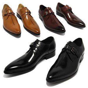 Wholesale Deep coffee color Dark yellow black mens business dress shoes genuine leather pointed toe mens wedding shoes