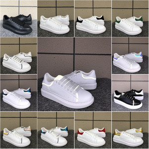 Black Casual Shoes Lace Up Designer Sneaker Genuine Leather Sneaker Luxury Mens Women Fashion White Leather Platform Shoes Flat Runner