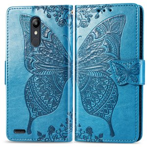 Wholesale Phone Cases For LG K10 USA with Wallet Card Slots Punched Convex Flower Butterfly Pattern Slot Hand Strap K10 USA Version