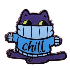 Wholesale Chill fat cat hard enamel pin cute blue sweater kitty brooch funny winter jewelry Christmas gift
