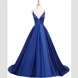 Wholesale 2019 wangyandress Blue Satin A Line Evening Dresses Sexy Criss Cross Straps V Neck Long Prom Gowns Custom Sweep Train Party Gowns