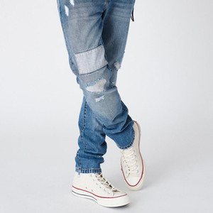 Wholesale 19SS KITH VARICK LETTER DENIM Embroidered Straight Jeans Men Women Couple Fashion Loose Trousers Casual Jeans zdlp0731