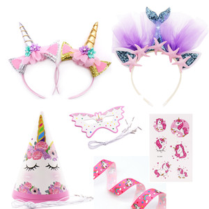 Unicorn Party Headband Girls Favor Mermaid Hair band Unicorn Ribbon Hair bow accessories Birthday kids Party Decoration supplies on Sale