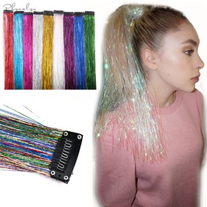 Glitter Hair Extensions Sparkle Hair Tinsel with Clip Highlights False Strands 1pc Clip In Bling