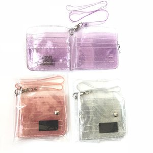 Bling Transparent Id Card Holder Wallets Pvc Folding Lanyard Short Wallet Fashion Women Girl Glitter Business Card Case Purse SH190723