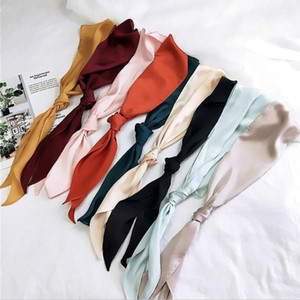 Wholesale 2019 Women Fashion Ribbon Silk Scarf Beautiful Solid Design Girls Neckerchief Hair Band Bag Handle Wraps Small Neck Scarves