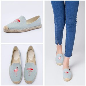 Wholesale Women Espadrille Embroider Shoes Comfortable Slippers Ladies Womens Casual Shoes Breathable Flax Canvas Blue Flamingo