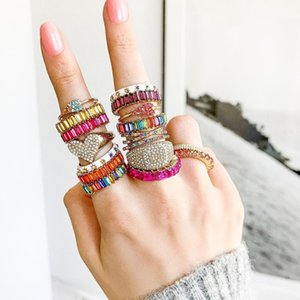 Wholesale Dvacaman Bling Bling Crystal Rings for Women Wedding Bridal Engagement Promise Ring INS Girl Finger Accessories Jewery