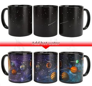 Wholesale Hot Bar Dining Ceramic Cups Changing Color Mug Milk Coffee Mugs Friends Gifts Student Breakfast Cup Star Solar System Mugs
